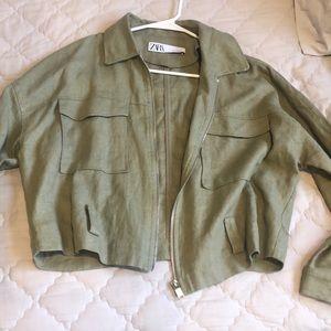 zara green jacket